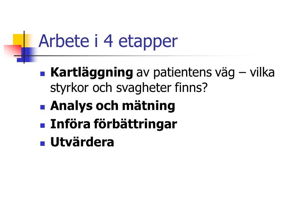 Arbete i 4 etapper Kartläggning av patientens väg – vilka styrkor och svagheter finns.