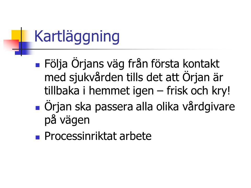 Kartläggning Följa Örjans väg från första kontakt med sjukvården tills det att Örjan är tillbaka i hemmet igen – frisk och kry.