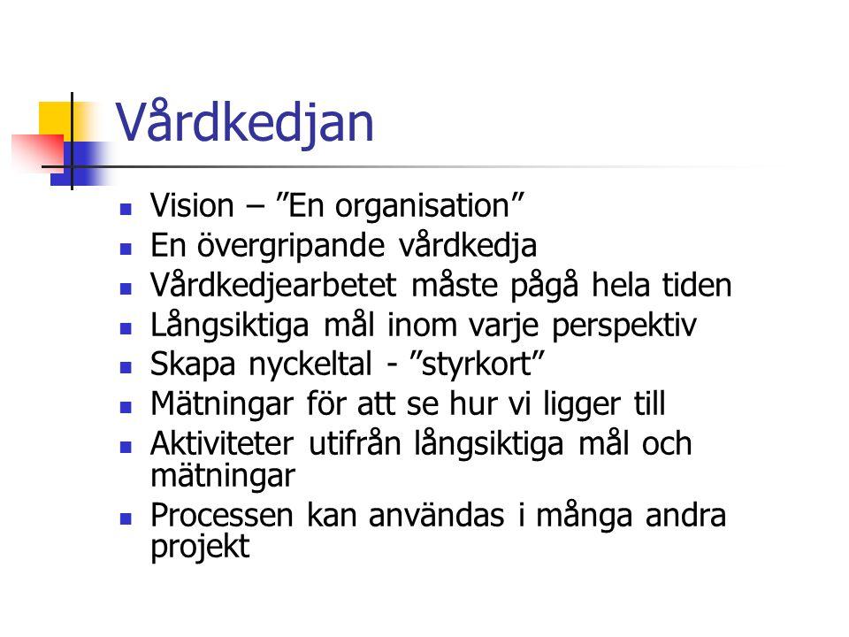 Vårdkedjan Vision – En organisation En övergripande vårdkedja Vårdkedjearbetet måste pågå hela tiden Långsiktiga mål inom varje perspektiv Skapa nyckeltal - styrkort Mätningar för att se hur vi ligger till Aktiviteter utifrån långsiktiga mål och mätningar Processen kan användas i många andra projekt