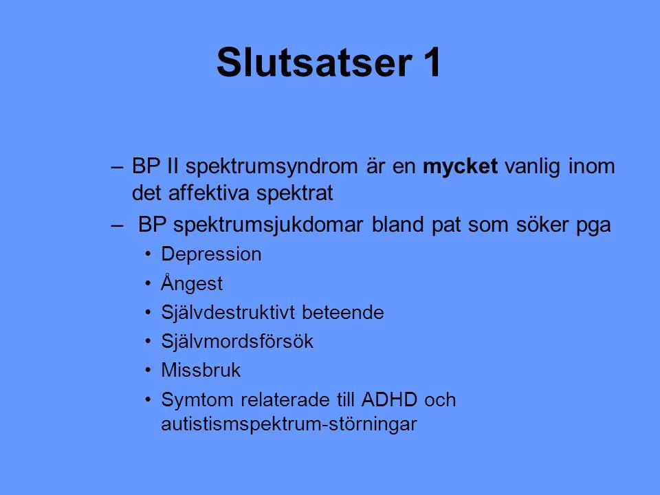 Slutsatser 1 –BP II spektrumsyndrom är en mycket vanlig inom det affektiva spektrat – BP spektrumsjukdomar bland pat som söker pga Depression Ångest S