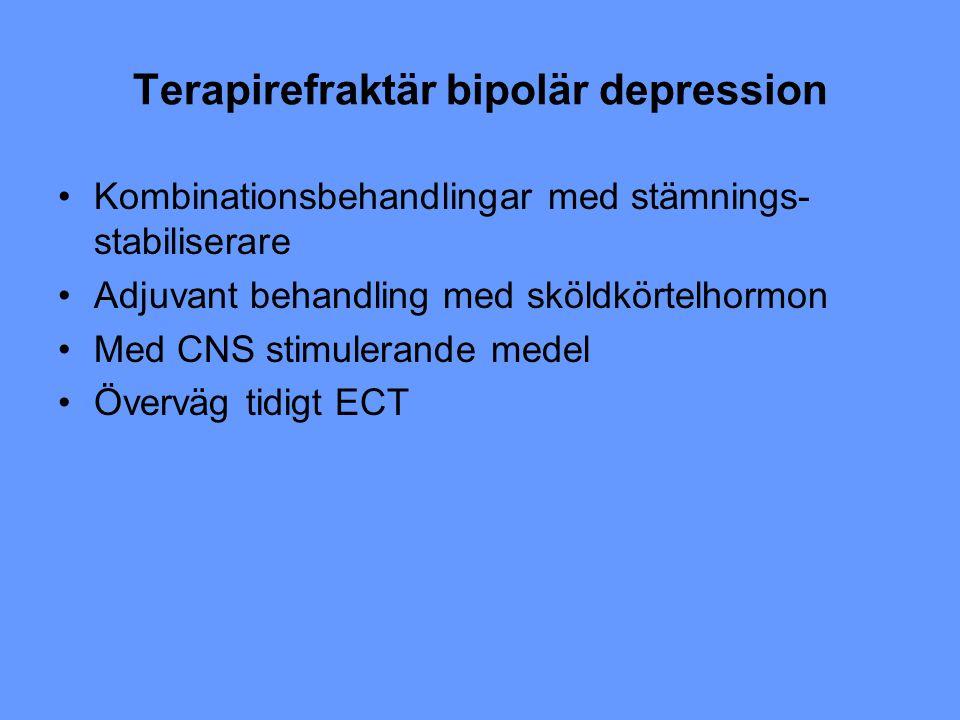 Terapirefraktär bipolär depression Kombinationsbehandlingar med stämnings- stabiliserare Adjuvant behandling med sköldkörtelhormon Med CNS stimulerand