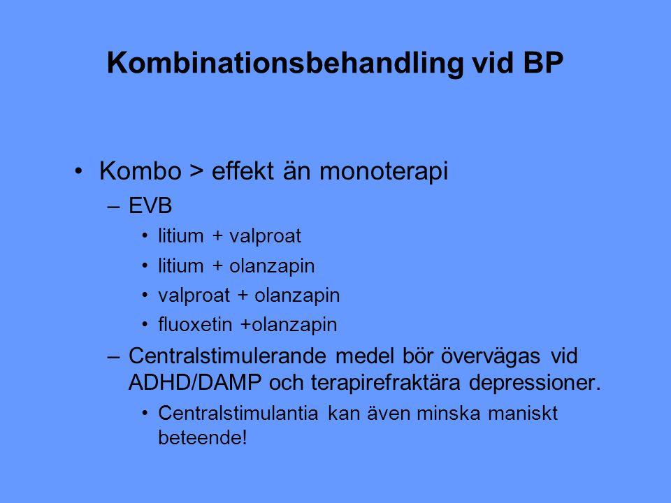 Kombinationsbehandling vid BP Kombo > effekt än monoterapi –EVB litium + valproat litium + olanzapin valproat + olanzapin fluoxetin +olanzapin –Centra