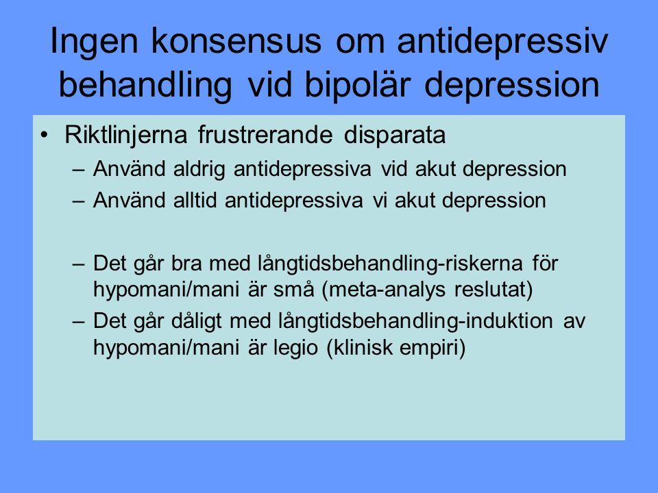 Ingen konsensus om antidepressiv behandling vid bipolär depression Riktlinjerna frustrerande disparata –Använd aldrig antidepressiva vid akut depressi