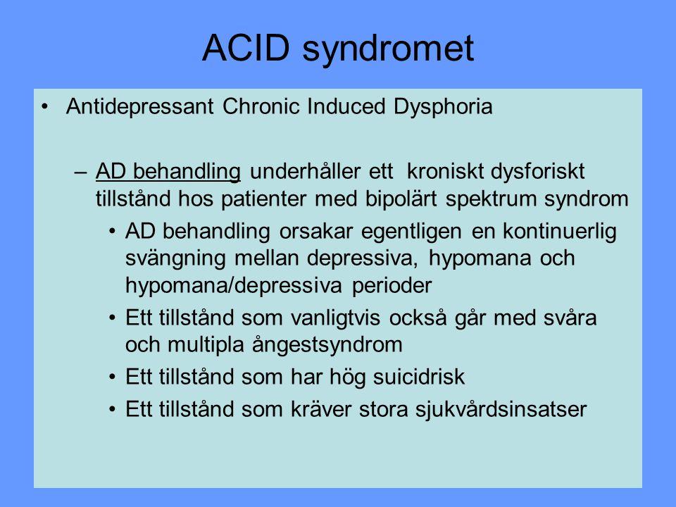 ACID syndromet Antidepressant Chronic Induced Dysphoria –AD behandling underhåller ett kroniskt dysforiskt tillstånd hos patienter med bipolärt spektr