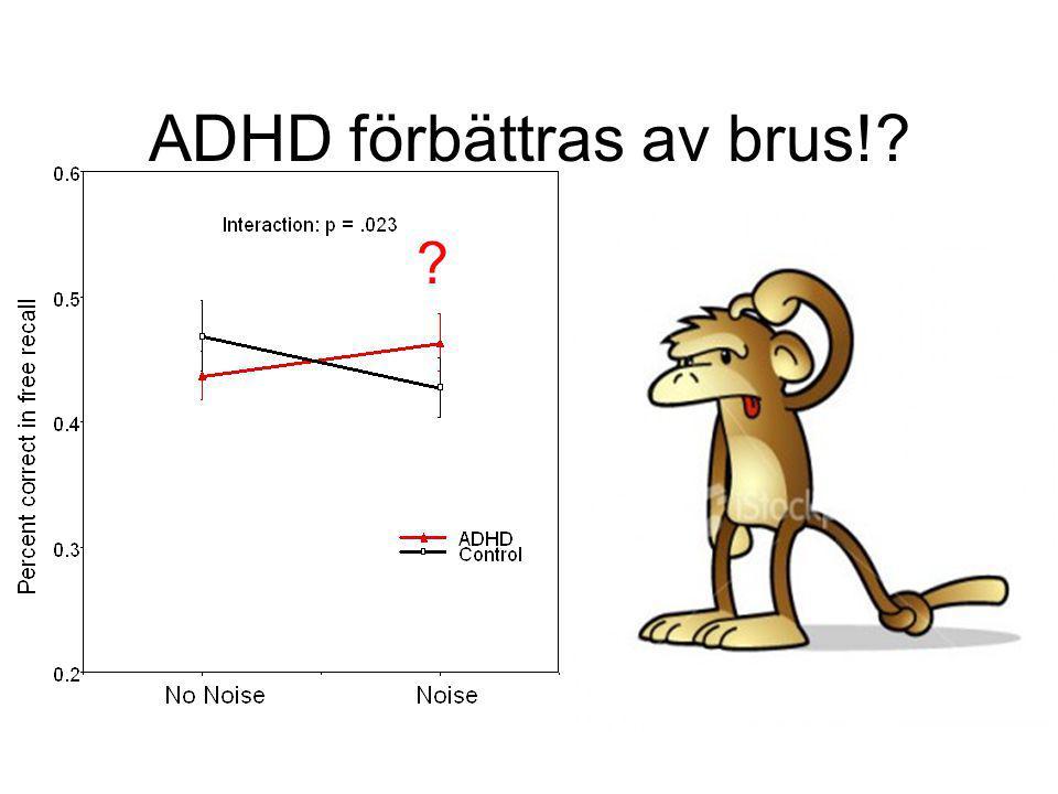 Noise level Performance Superattentive Super attentive Normalattentive Normal attentive Subattentive, ADHD Sub attentive, ADHD SR och uppmärksamhet brusnivåer varierar mellan individer