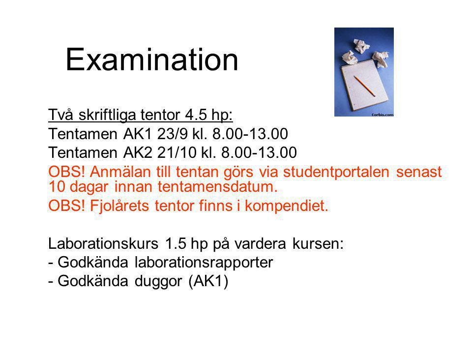 Examination Två skriftliga tentor 4.5 hp: Tentamen AK1 23/9 kl.