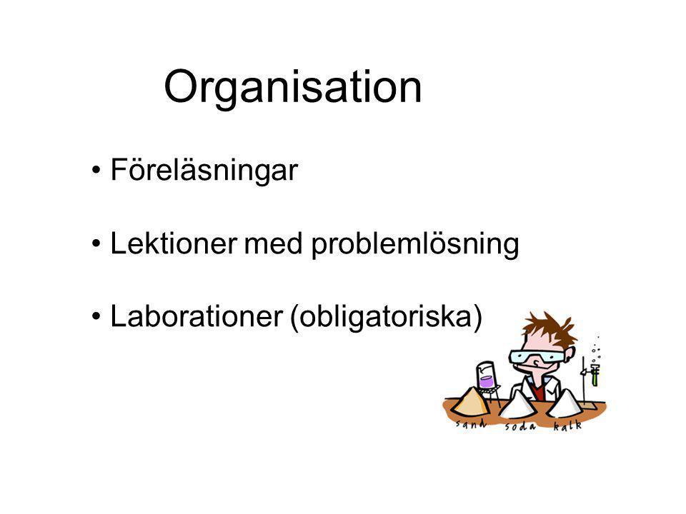 Organisation Föreläsningar Lektioner med problemlösning Laborationer (obligatoriska)