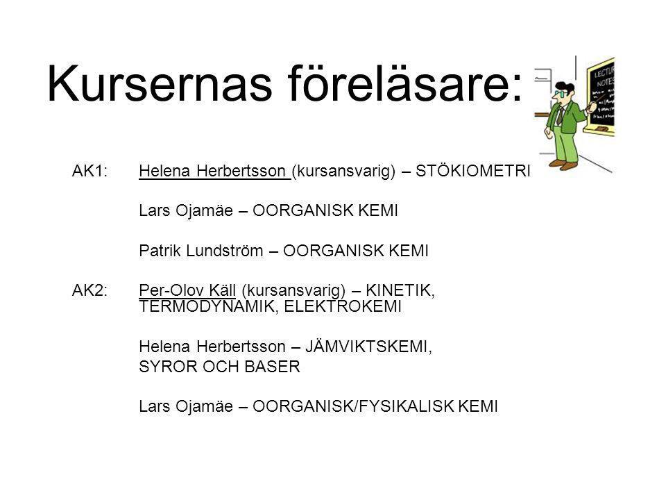Kursernas föreläsare: AK1: Helena Herbertsson (kursansvarig) – STÖKIOMETRI Lars Ojamäe – OORGANISK KEMI Patrik Lundström – OORGANISK KEMI AK2: Per-Olov Käll (kursansvarig) – KINETIK, TERMODYNAMIK, ELEKTROKEMI Helena Herbertsson – JÄMVIKTSKEMI, SYROR OCH BASER Lars Ojamäe – OORGANISK/FYSIKALISK KEMI