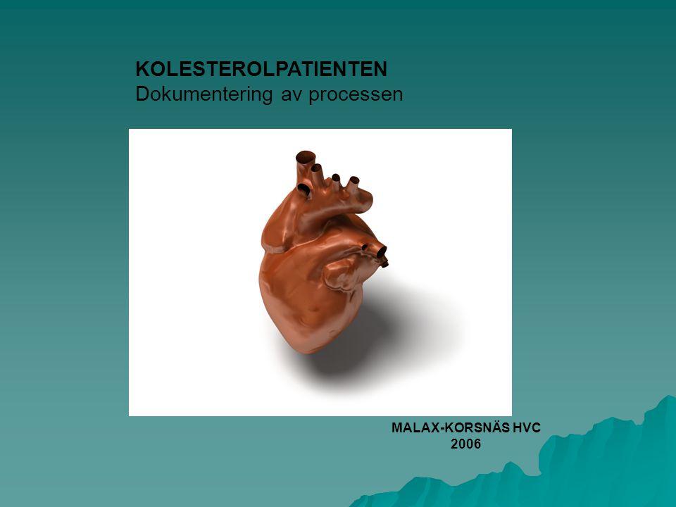 KOLESTEROLPATIENTEN Dokumentering av processen MALAX-KORSNÄS HVC 2006