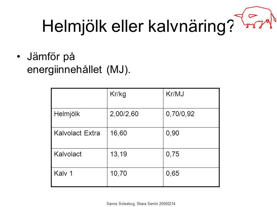 Sanna Soleskog, Skara Semin 20060214 Helmjölk eller kalvnäring? Jämför på energiinnehållet (MJ). Kr/kgKr/MJ Helmjölk2,00/2,600,70/0,92 Kalvolact Extra