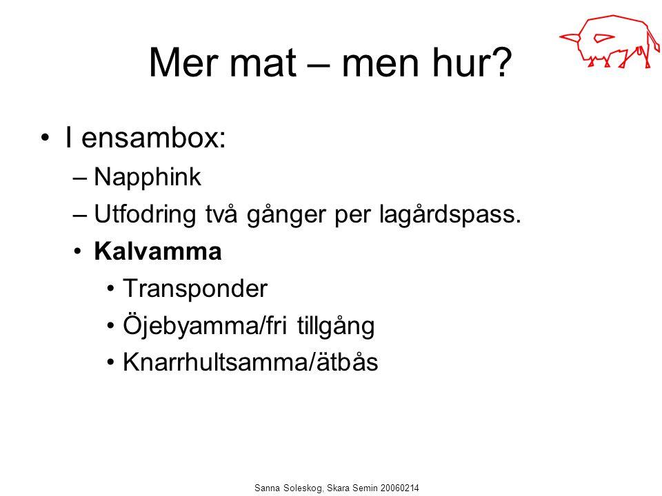 Sanna Soleskog, Skara Semin 20060214 Mer mat – men hur? I ensambox: –Napphink –Utfodring två gånger per lagårdspass. Kalvamma Transponder Öjebyamma/fr