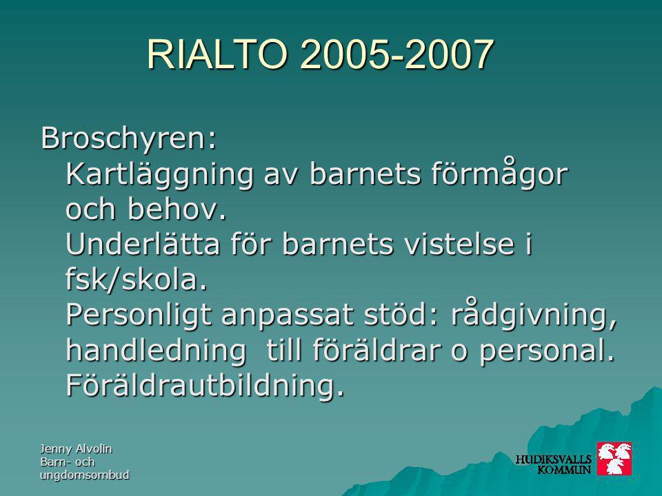 RIALTO 2005-2007 Jenny Alvolin Barn- och ungdomsombud Avtalet mellan kommun och landsting 2007- 2009:  Vara en remissinstans för primärvården och elevhälsan (för barn tom sex år).