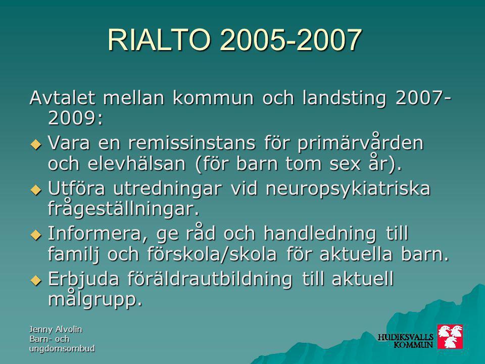 RIALTO 2005-2007 Jenny Alvolin Barn- och ungdomsombud Avtalet mellan kommun och landsting 2007- 2009:  Vara en remissinstans för primärvården och ele