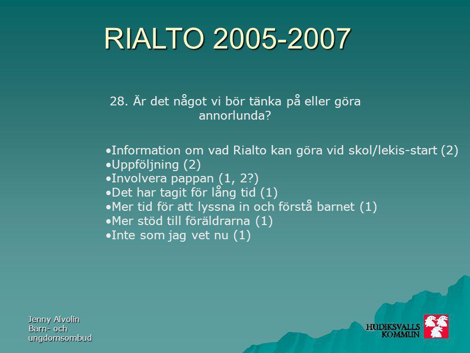 RIALTO 2005-2007 Jenny Alvolin Barn- och ungdomsombud 28. Är det något vi bör tänka på eller göra annorlunda? Information om vad Rialto kan göra vid s