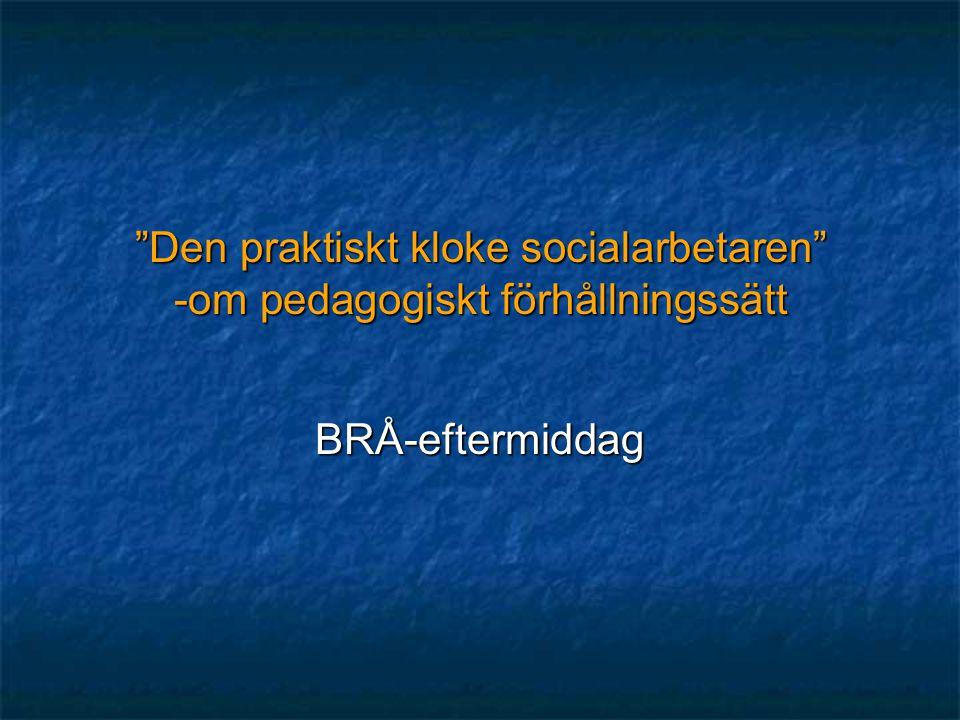 """""""Den praktiskt kloke socialarbetaren"""" -om pedagogiskt förhållningssätt BRÅ-eftermiddag"""