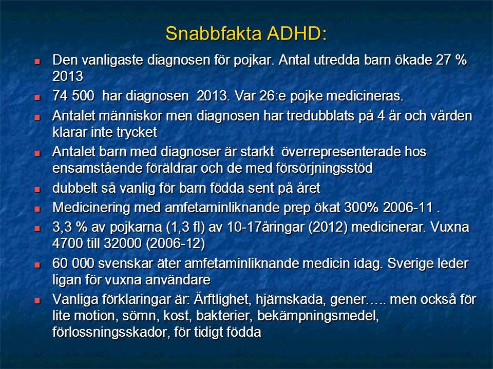 Snabbfakta ADHD: Den vanligaste diagnosen för pojkar. Antal utredda barn ökade 27 % 2013 Den vanligaste diagnosen för pojkar. Antal utredda barn ökade