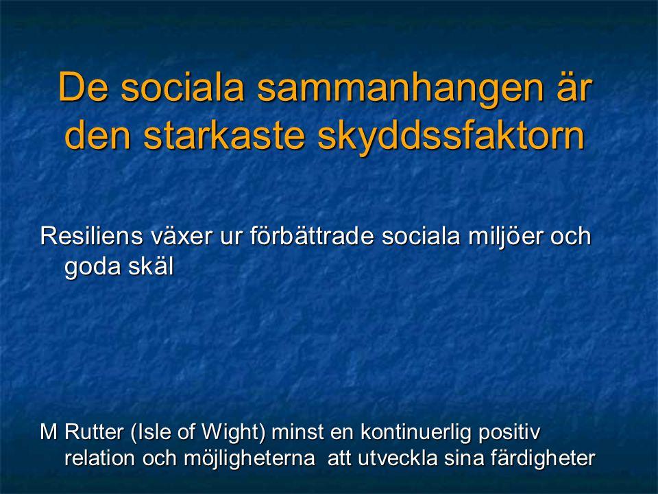 De sociala sammanhangen är den starkaste skyddssfaktorn Resiliens växer ur förbättrade sociala miljöer och goda skäl M Rutter (Isle of Wight) minst en