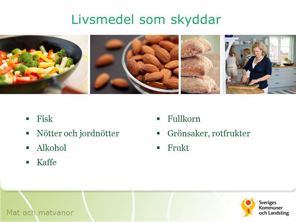 Livsmedel som skyddar  Fisk  Nötter och jordnötter  Alkohol  Kaffe  Fullkorn  Grönsaker, rotfrukter  Frukt Mat och matvanor