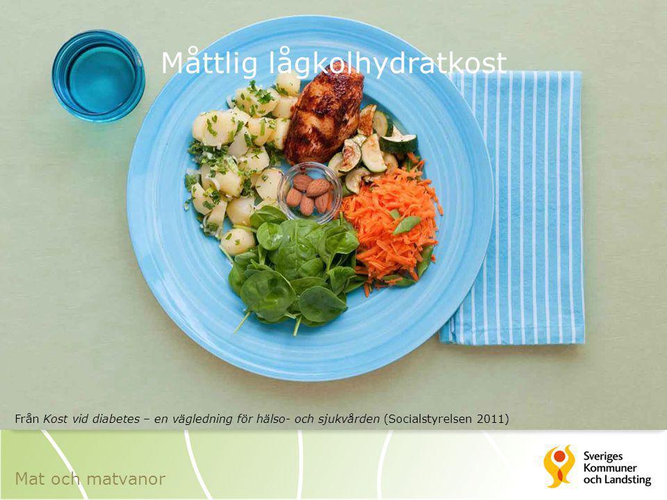 Måttlig lågkolhydratkost Från Kost vid diabetes – en vägledning för hälso- och sjukvården (Socialstyrelsen 2011) Mat och matvanor