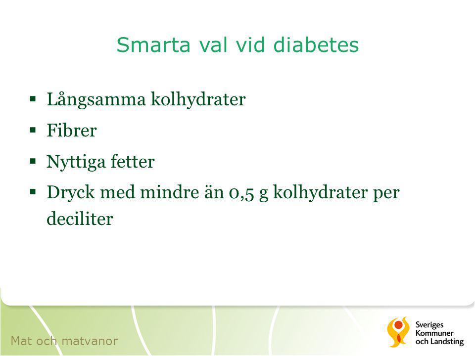 Smarta val vid diabetes  Långsamma kolhydrater  Fibrer  Nyttiga fetter  Dryck med mindre än 0,5 g kolhydrater per deciliter Mat och matvanor