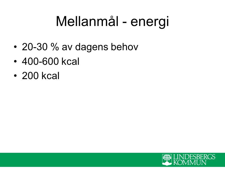 Mellanmål - energi 20-30 % av dagens behov 400-600 kcal 200 kcal