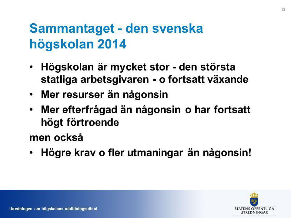 Utredningen om högskolans utbildningsutbud Sammantaget - den svenska högskolan 2014 Högskolan är mycket stor - den största statliga arbetsgivaren - o