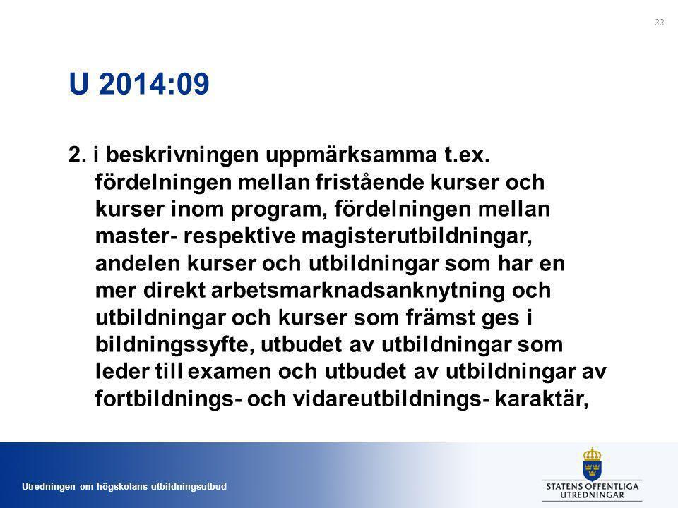 Utredningen om högskolans utbildningsutbud U 2014:09 2. i beskrivningen uppmärksamma t.ex. fördelningen mellan fristående kurser och kurser inom progr