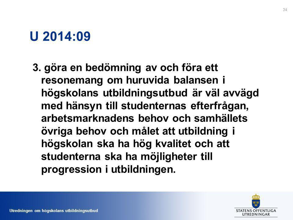 Utredningen om högskolans utbildningsutbud U 2014:09 3. göra en bedömning av och föra ett resonemang om huruvida balansen i högskolans utbildningsutbu