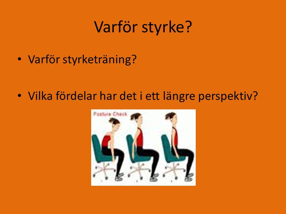 Styrketräning Olika målsättningar med styrketräning Neuronal träning Uthållighet Muskelvolym Maxstyrka Tips för nybörjare
