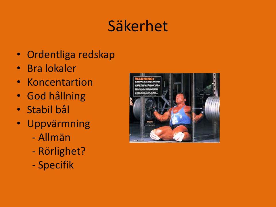 Säkerhet Vanliga fel vid styrketräning – Fuskar med uppvärmningen – Fel teknik – Kost – Kunskap och upplägg – Slarv