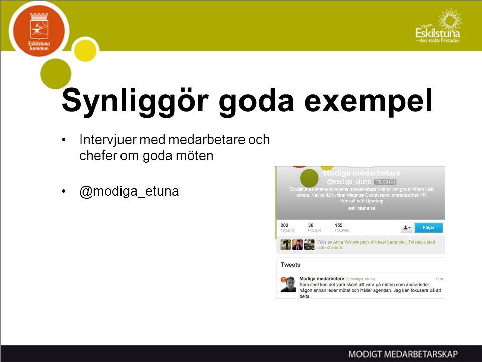 Intervjuer med medarbetare och chefer om goda möten @modiga_etuna Synliggör goda exempel