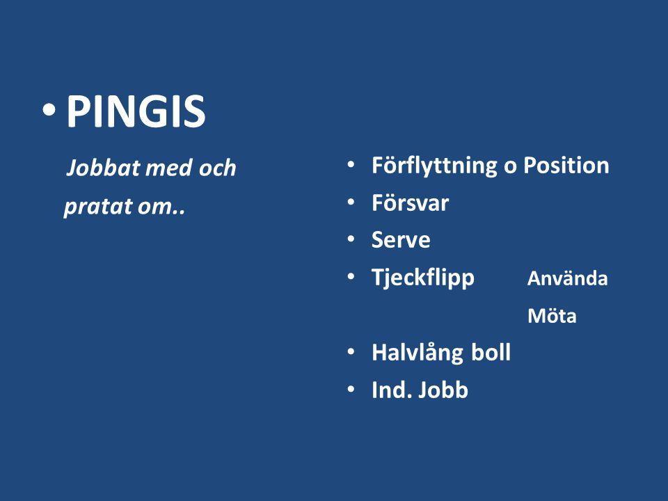 PINGIS Jobbat med och pratat om.. Förflyttning o Position Försvar Serve Tjeckflipp Använda Möta Halvlång boll Ind. Jobb