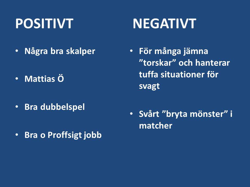 """POSITIVT NEGATIVT Några bra skalper Mattias Ö Bra dubbelspel Bra o Proffsigt jobb För många jämna """"torskar"""" och hanterar tuffa situationer för svagt S"""