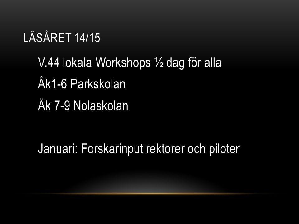 LÄSÅRET 14/15 V.44 lokala Workshops ½ dag för alla Åk1-6 Parkskolan Åk 7-9 Nolaskolan Januari: Forskarinput rektorer och piloter