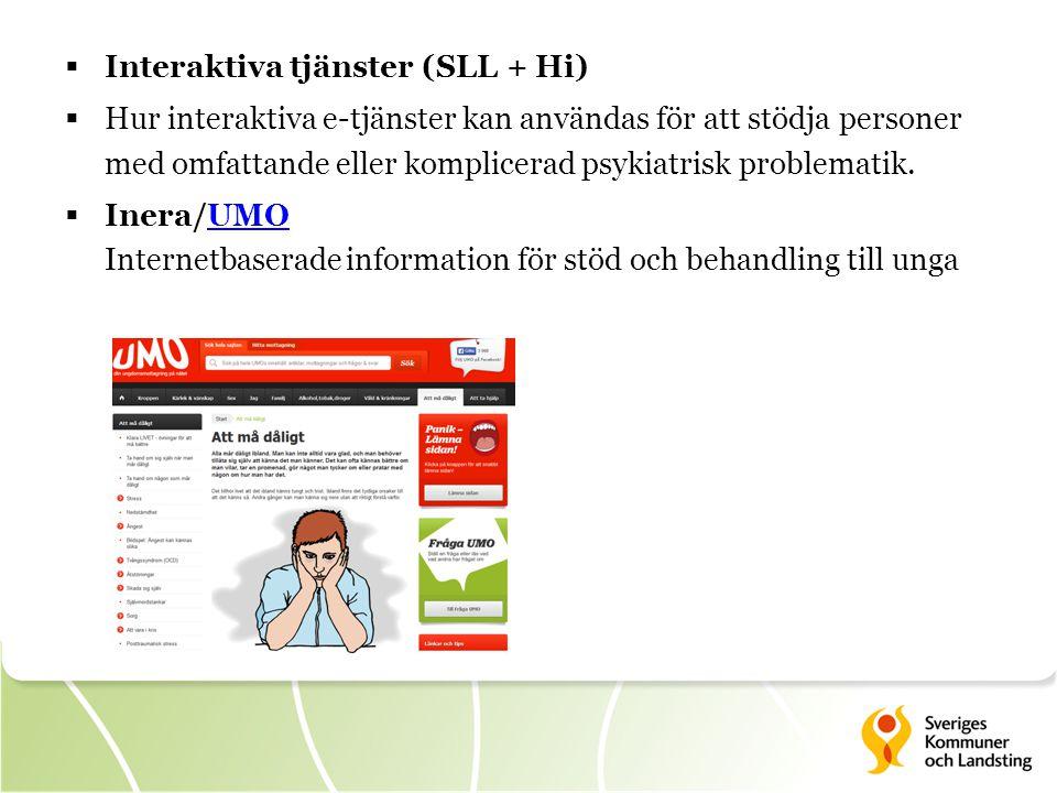  Interaktiva tjänster (SLL + Hi)  Hur interaktiva e-tjänster kan användas för att stödja personer med omfattande eller komplicerad psykiatrisk problematik.