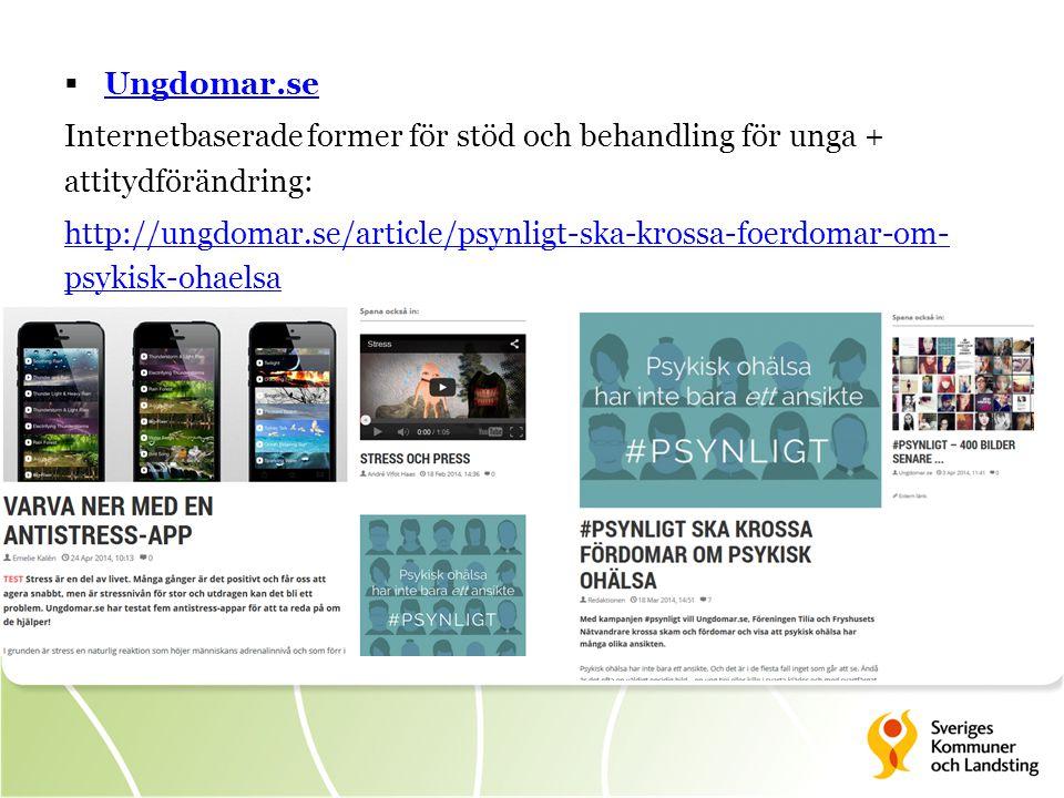  Ungdomar.se Ungdomar.se Internetbaserade former för stöd och behandling för unga + attitydförändring: http://ungdomar.se/article/psynligt-ska-krossa-foerdomar-om- psykisk-ohaelsa