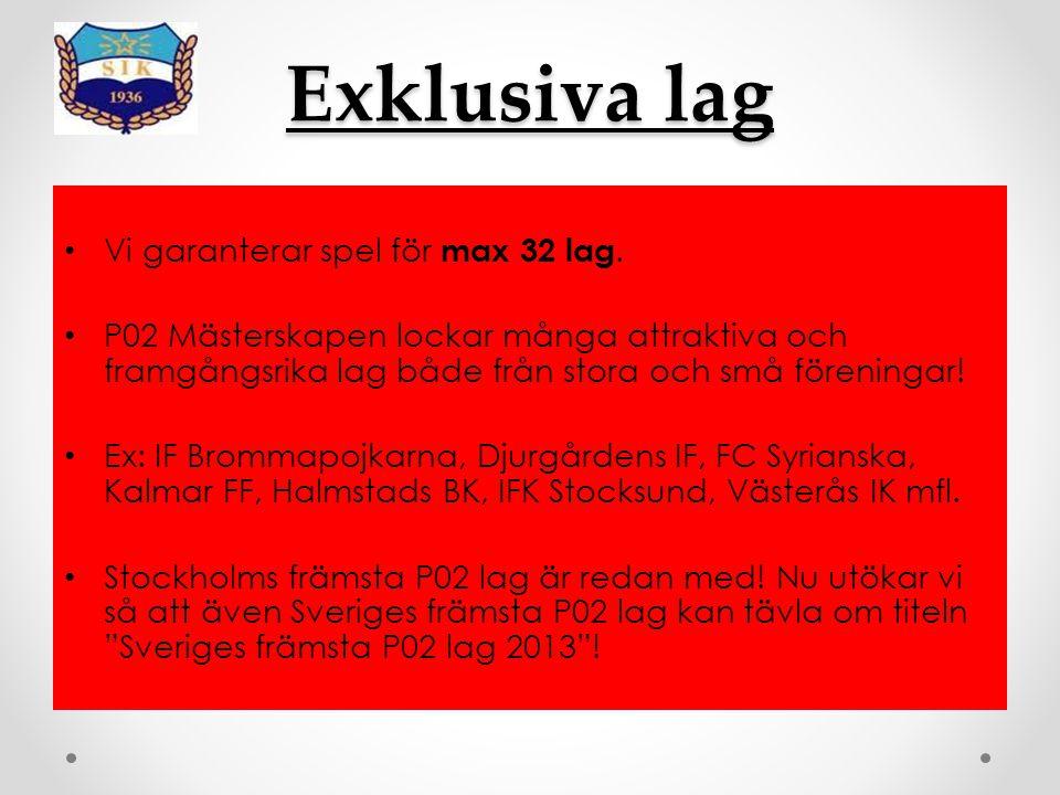 Information Spelform:7-manna Matchtid:2x15 minuter/match Gruppspel:8 grupper, 4 lag/grupp ( Lördag ) Slutspel:A & B ( Lördag + Söndag ) Priser: Bucklor till lagen i A-finalen samt vinnaren av B-finalen ( Inga övriga priser ) Anmälningsavgift: 2 000 Kr/lag ( Sätts in på Nordea, kontonummer: 32603830171 ( Pengarna skall sitta på kontot senast fredag 29 mars 2013, skriv P02 M13 och ert lag ) Spelplats: Östermalms IP 26-27 oktober 2013 ( Stockholms city )
