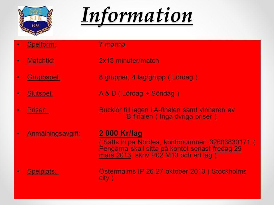 Information Spelform:7-manna Matchtid:2x15 minuter/match Gruppspel:8 grupper, 4 lag/grupp ( Lördag ) Slutspel:A & B ( Lördag + Söndag ) Priser: Bucklo