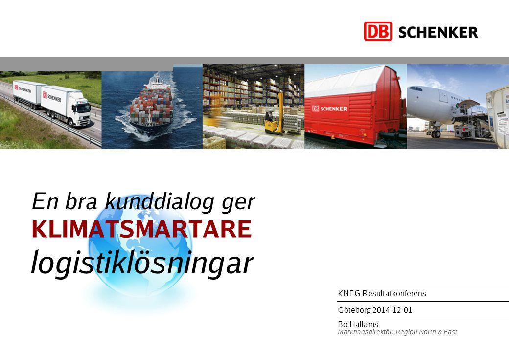 En bra kunddialog ger KLIMATSMARTARE logistiklösningar KNEG Resultatkonferens Göteborg 2014-12-01 Bo Hallams Marknadsdirektör, Region North & East