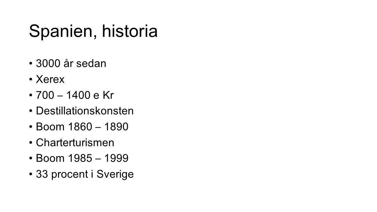 Spanien, historia 3000 år sedan Xerex 700 – 1400 e Kr Destillationskonsten Boom 1860 – 1890 Charterturismen Boom 1985 – 1999 33 procent i Sverige