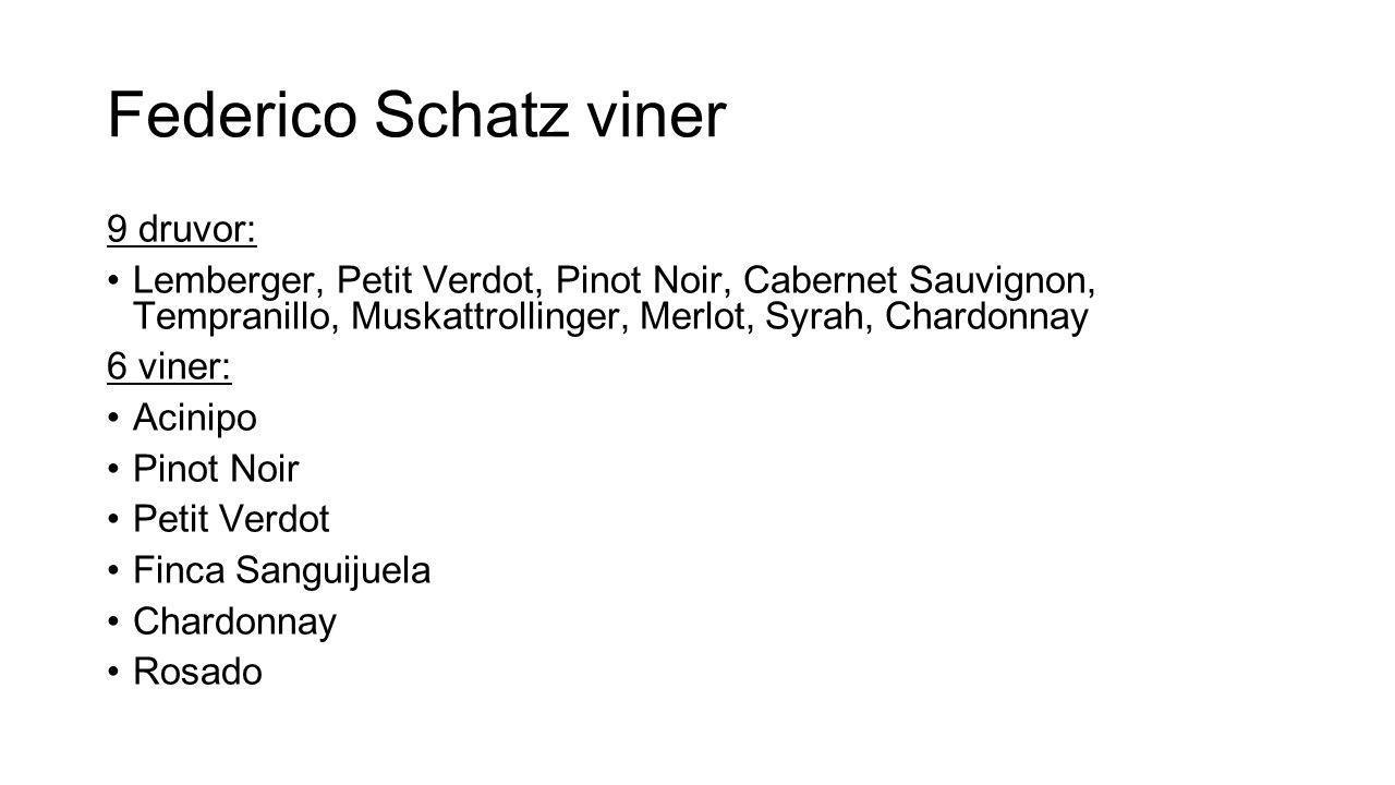 Federico Schatz viner 9 druvor: Lemberger, Petit Verdot, Pinot Noir, Cabernet Sauvignon, Tempranillo, Muskattrollinger, Merlot, Syrah, Chardonnay 6 vi