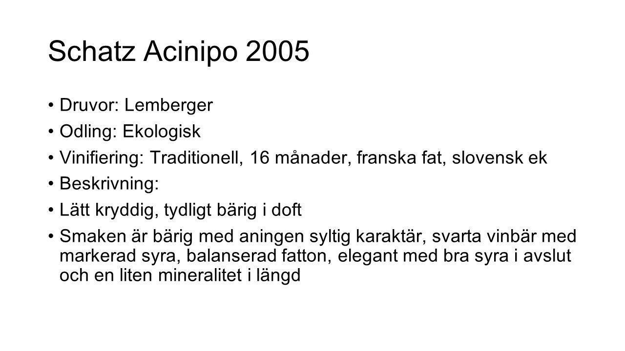 Schatz Acinipo 2005 Druvor: Lemberger Odling: Ekologisk Vinifiering: Traditionell, 16 månader, franska fat, slovensk ek Beskrivning: Lätt kryddig, tyd