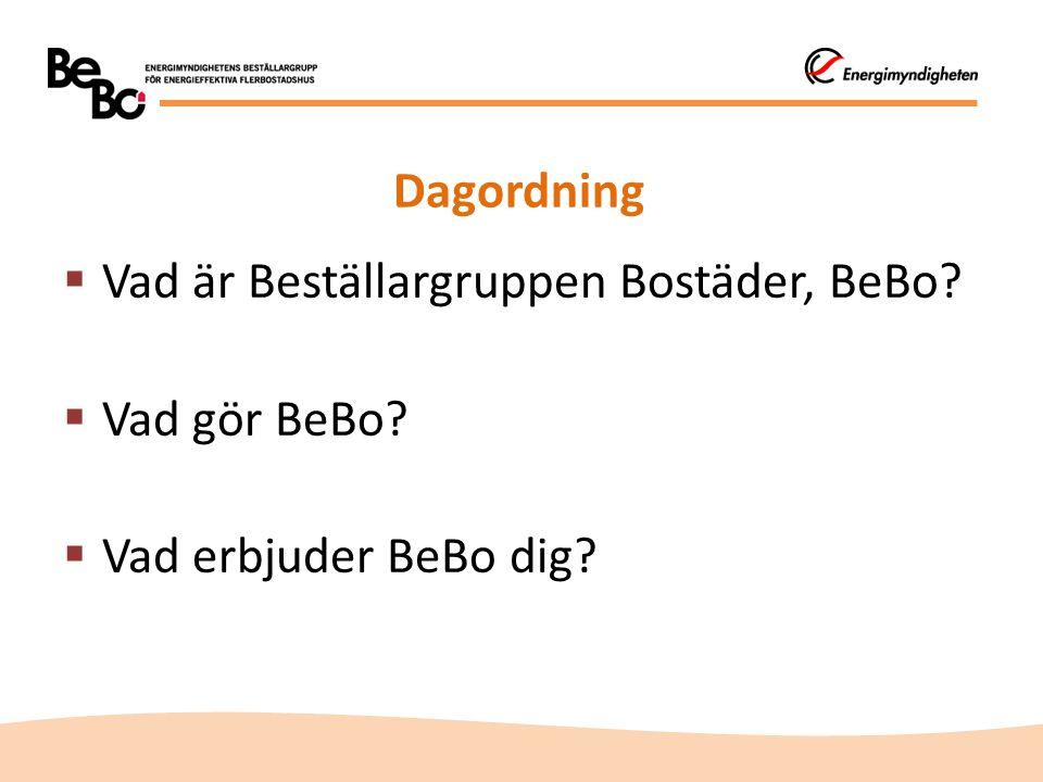 Dagordning  Vad är Beställargruppen Bostäder, BeBo  Vad gör BeBo  Vad erbjuder BeBo dig