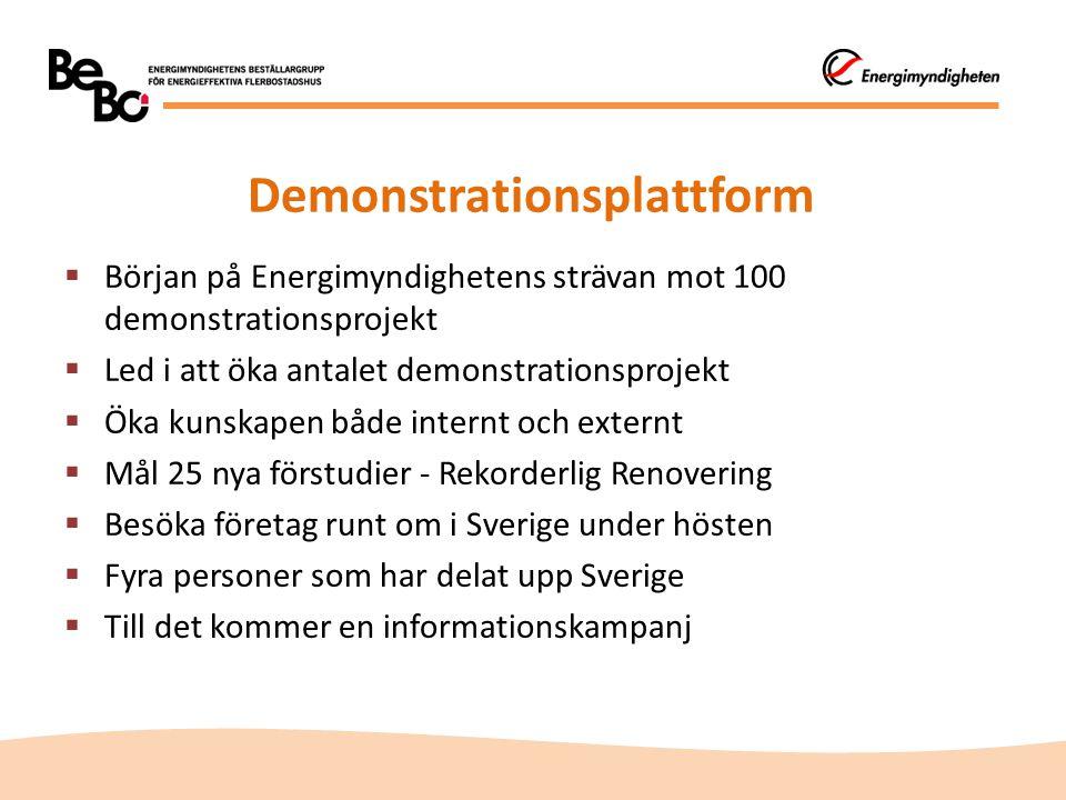 Demonstrationsplattform  Början på Energimyndighetens strävan mot 100 demonstrationsprojekt  Led i att öka antalet demonstrationsprojekt  Öka kunskapen både internt och externt  Mål 25 nya förstudier - Rekorderlig Renovering  Besöka företag runt om i Sverige under hösten  Fyra personer som har delat upp Sverige  Till det kommer en informationskampanj