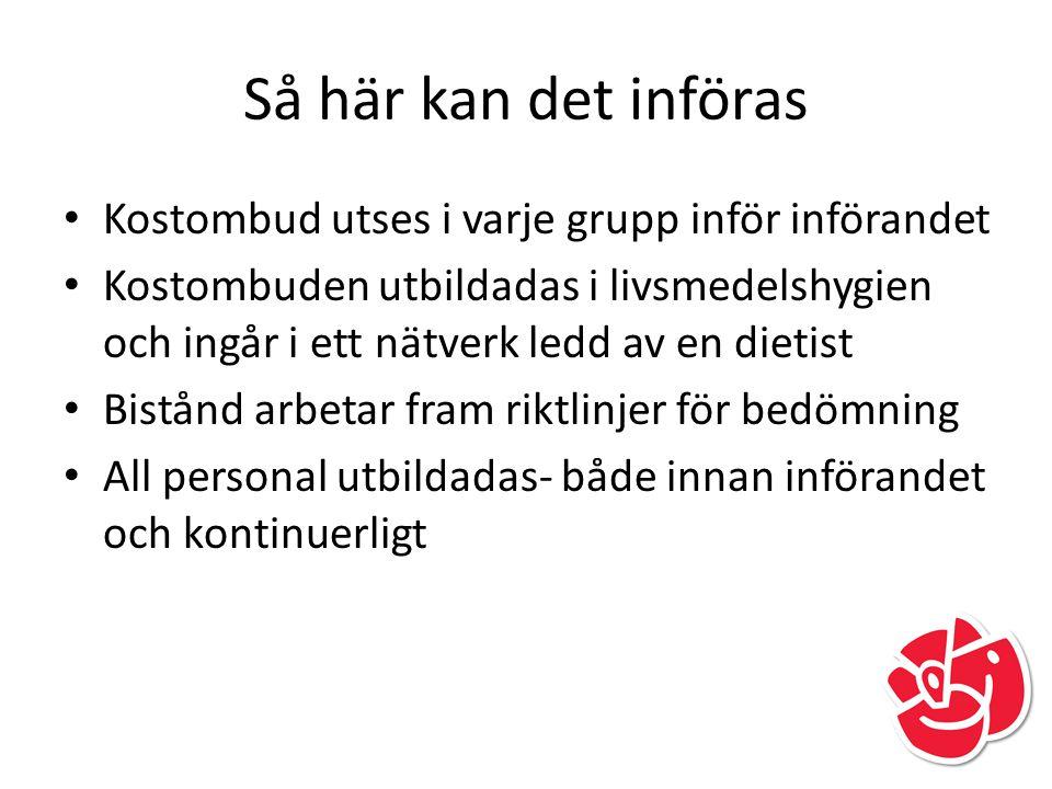 Så här kan det införas Kostombud utses i varje grupp inför införandet Kostombuden utbildadas i livsmedelshygien och ingår i ett nätverk ledd av en die