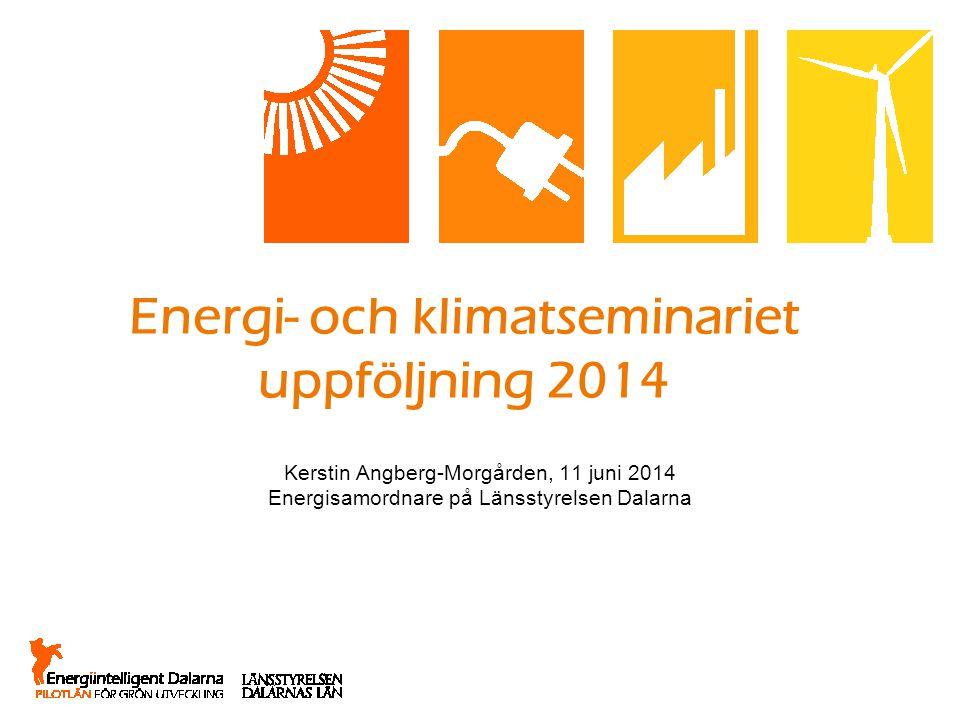 Energi- och klimatseminariet uppföljning 2014 Kerstin Angberg-Morgården, 11 juni 2014 Energisamordnare på Länsstyrelsen Dalarna