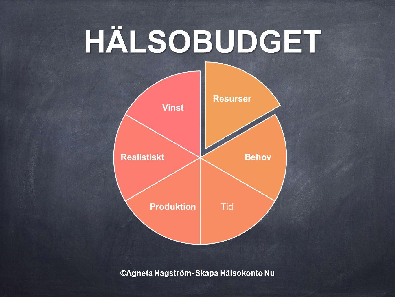 Resurser Behov TidProduktion Realistiskt Vinst HÄLSOBUDGET ©Agneta Hagström- Skapa Hälsokonto Nu