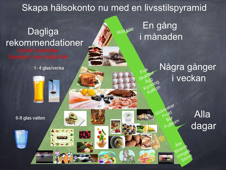 Skapa hälsokonto nu med en livsstilspyramid Några gånger i veckan En gång i månaden Alla dagar 6-8 glas vatten 1- 4 glas/vecka Dagliga rekommendatione