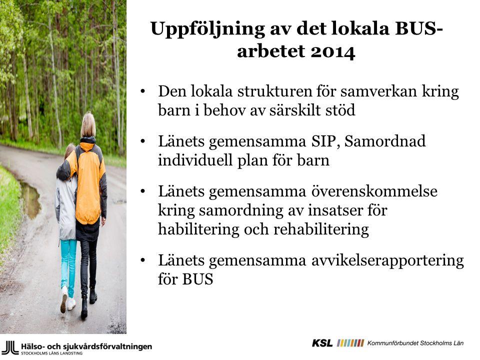 Uppföljning av det lokala BUS- arbetet 2014 Den lokala strukturen för samverkan kring barn i behov av särskilt stöd Länets gemensamma SIP, Samordnad i