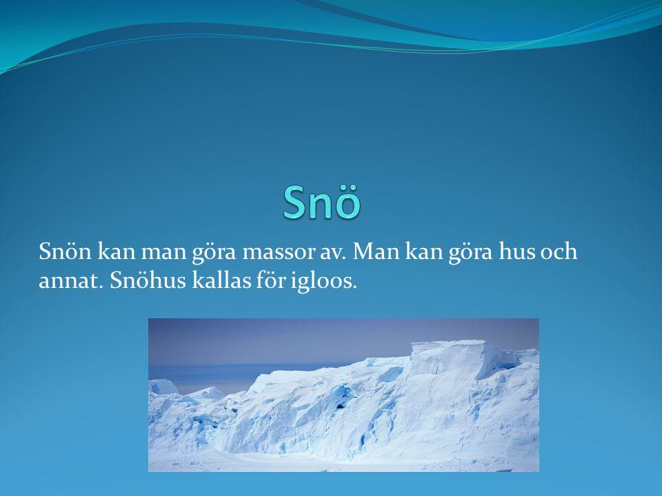 Snön kan man göra massor av. Man kan göra hus och annat. Snöhus kallas för igloos.